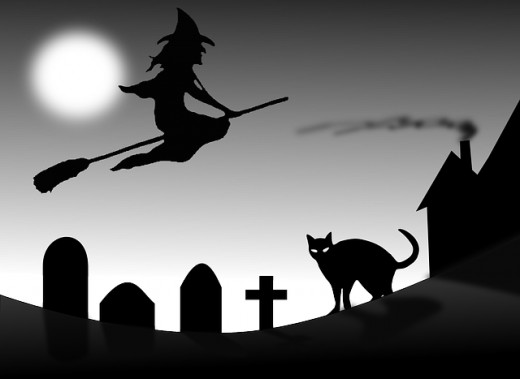Halloween: Witches in brooms, Black cats, graveyards and tombstones