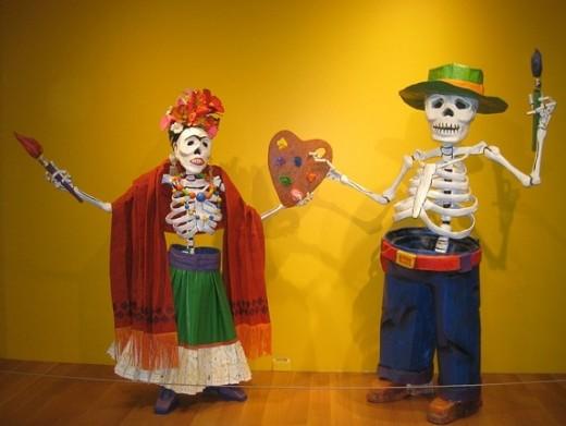 Día de los Muertos Frida Kahlo and Diego Rivera skeletons