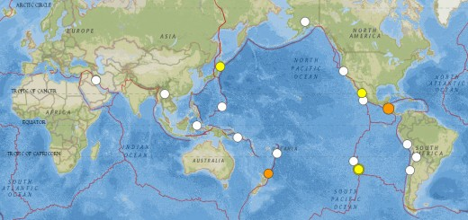 Map showing all 6.0 magnitude or larger earthquakes for the period of 15 Aug 2014 to 14 Oct 2014 (these earthquakes are also listed below from the same source).