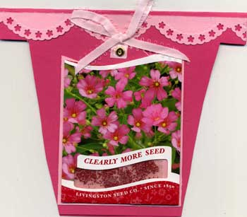 "Hand made greeting card in shape of a flower pot, with a shaker box containing ""seeds""."