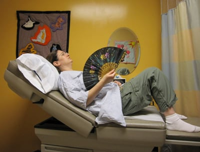 Another hot flash while waiting for the plastic surgeon. I've had this fan since I was a kid.
