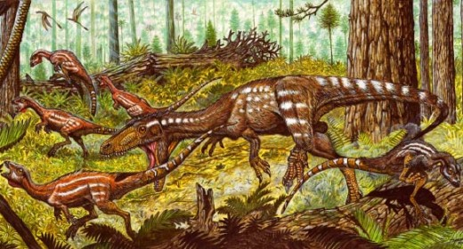 Laquintasaura and Tachiraptor as depicted by Maurílio Oliveira.
