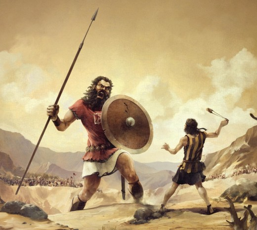 This photo of my article is about David and Goliath facing each other for a battle and it is related to the book of Samuel.
