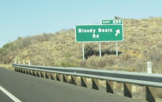 Close up of Exit sign for Bloody Basin