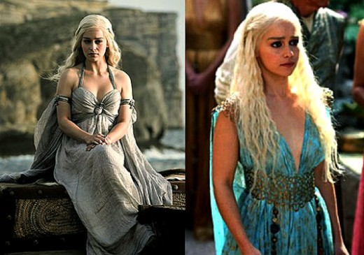 The girl in blue dress.  Daenerys of game of Thrones.