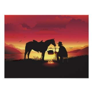Cowboy and his horse camping outdoors posters and other items available by clicking the source link.