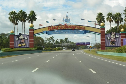 Entrance to Disney Amusement Park, the internationally famous popular holiday destination located in the city