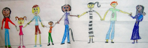 Child's drawing of diverse circle of people holding hands