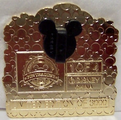 """Back of the pin will have a """"stamp"""" and a black Mickey Mouse ears cover."""