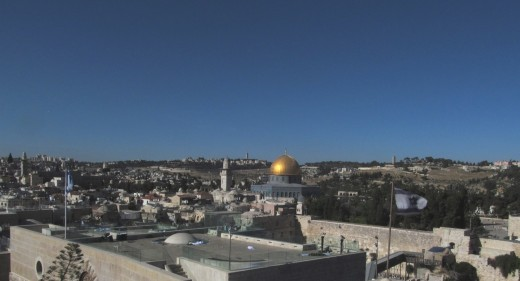 The Dome of the Rock and the Temple Mount.