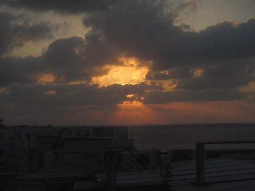 The Mediterranean as viewed from Tel Aviv at sunset.