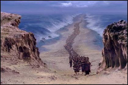"""""""and the Israelites went through the sea on dry ground, with a wall of water on their right and on their left."""""""