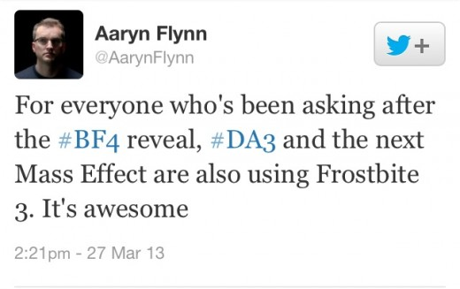 General Manager of Bioware studios, Aaryn Flynn, reveals that DA:I and the next installment of ME use the Frostbite 3 engine.