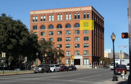 The Texas Book Depository in Dallas. The yellow box indicates the window from which Lee Harvey Oswald shot President Kennedy