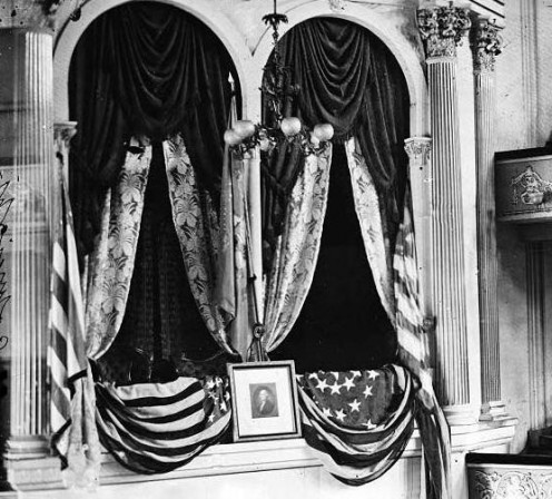 The view from the audience of the theatre box in the Ford Theatre where Lincoln sat when he was shot.