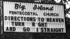 Churches today use electrical signs to announce their services