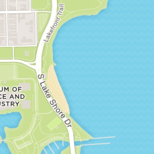 Featured near the bottom of this image, The Harvey Gordon Clark Memorial Bridge located 5900 South Lakeshore Drive, Chicago, IL..