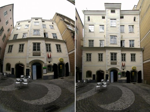 Left: Image of Kepler's House in Linz, Austria, taken with 8mm Peleng fisheye lens on a Canon EOS 300D showing typical distortions of a fisheye lens. Right: Same image, remapped to rectilinear projection using software