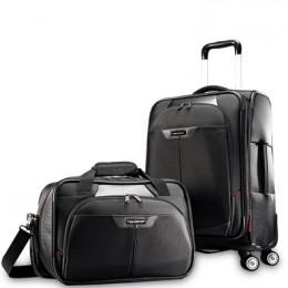 Samsonite Elite carry on spinner and boarding laptop tote bag set in black.
