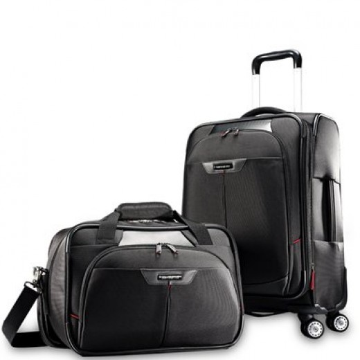 Samsonite Elite carry on spinner and boarding laptop tote bag set in black.