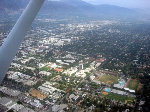 Pasadena, California aerial shot