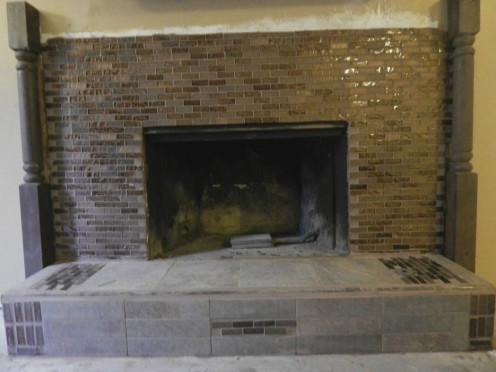 Fire place with glass tile