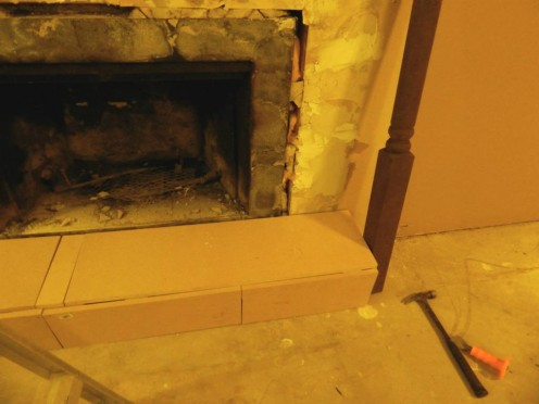 Hearth around the gas pipe