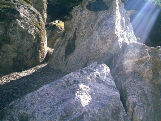 Xenolithic rocks in a sunbeam