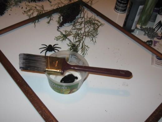Dry brushing DIY wreath base frame