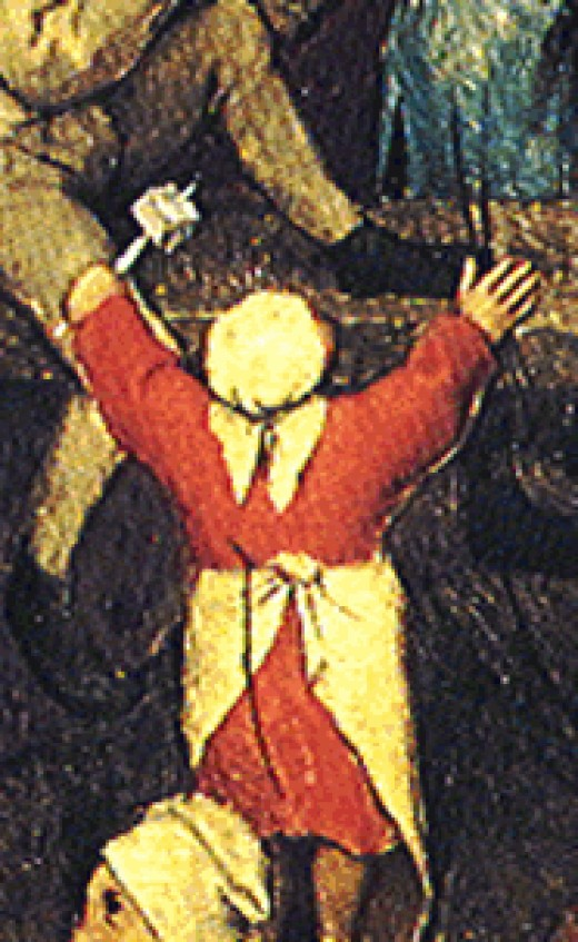 Detail of Girl holding a 4 sided Teetotum for Put and take from Pieter Brueghel the Elder's Children's Games (1526/1530–1569)