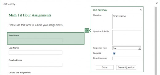 Screenshot of the editing mode in Excel Surveys