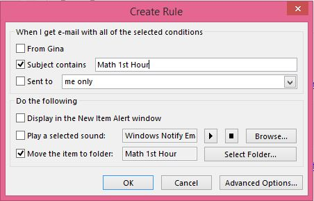 Creating rules in Outlook 2013 is quick and easy to accomplish