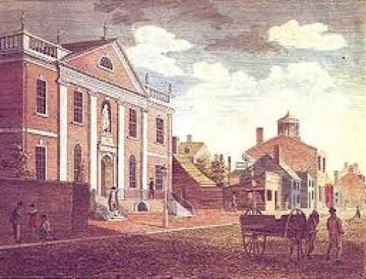 artist's rendering of the first US library