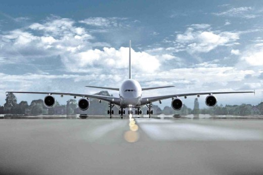 Front view of an Airbus A380