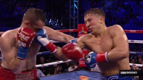 Golovkin lands a huge right uppercut moments before knocking out Rubio with a perfect left hook in California.