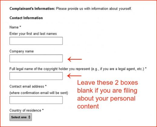 Complaintant's Information