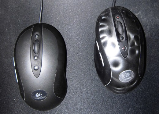 "My highly worn MX518 (right) and the newer G400 (left). G400 has a pleasant and sedate look as opposed to MX518's ""crater"" texture."