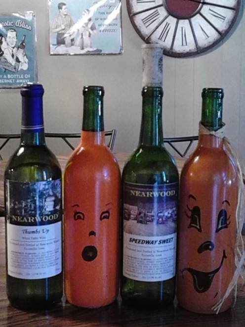 Easy decorations made out of empty wine bottles.