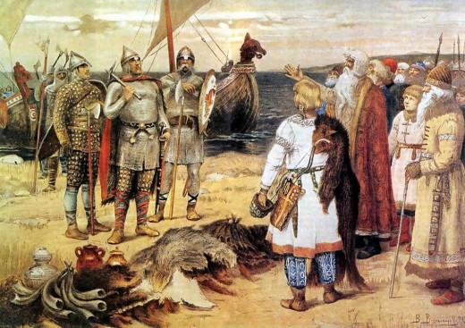 The Invitation of the Varangians: Rurik and his brothers arrive in Staraya Ladoga. by Viktor Vasnetsov