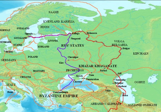 Major trade routes of the Rus