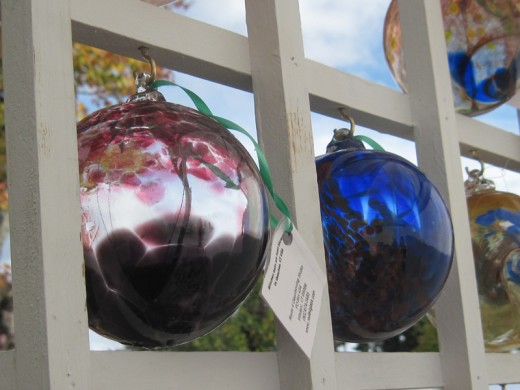 Gorgeous blown glass fine artisan craft ornaments at New England crafts festival