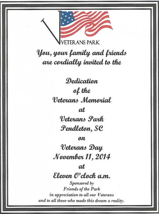 Invitation to the Dedication of the Veterans Memorial