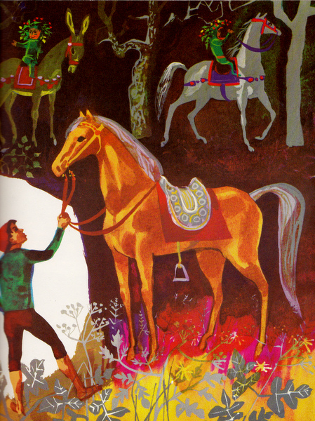Guleesh with his magical horse and the group of fairies on their way to France.