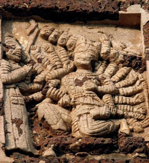 Ravana in his court: Radheshyam temple,Bishnupur,WB,India
