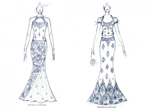 Sketches of mermaid or fish-cut lehenga skirts