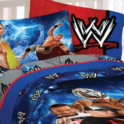 There aren't many WWE 'official' comforters and bedding sets but this one will do nicely as a focal piece. This photo is an enlarged image of the comforter set link above.