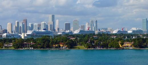 Cruise ships line the Miami port. Credit: Wikimedia Credit: Wikimedia (Creative Commons 1.0 Generic)