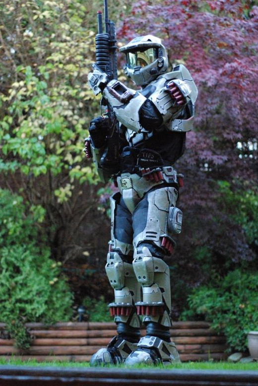On guard in the Halo Master Chief Intimidator suit of armor