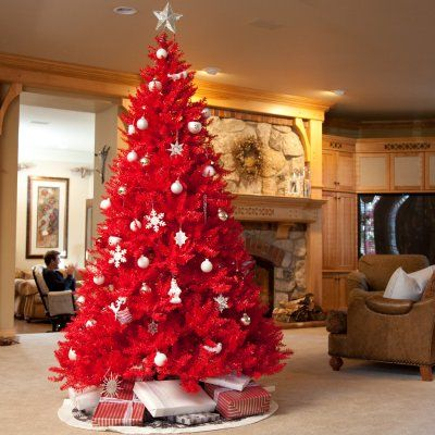 eccentric christmas tree in red and white