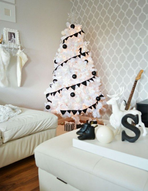 Stylish Christmas tree in black and white.